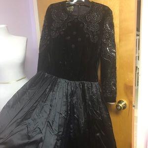 Escada couture black velvet bead bodice gown 42